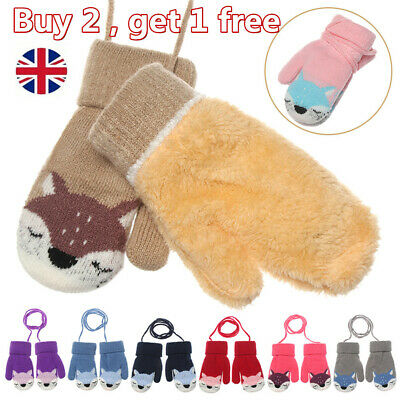 Cute Cartoon Fox Baby Kids gloves Winter Warm Thick Mittens Gloves For Children