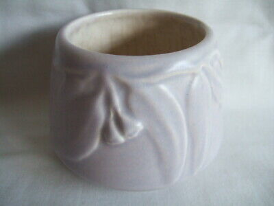 Melrose Ware Australian Pottery. Small Squat Vase with Gum Leaf Pattern - Grey