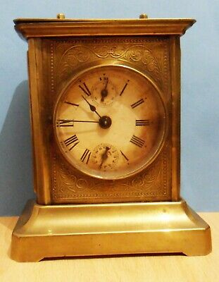 Antique Musical Alarm Carriage Clock Working Movement