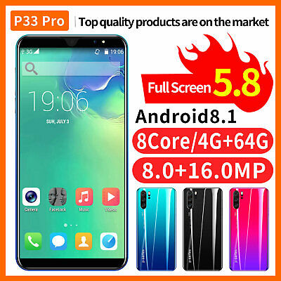Unlocked P33 Pro 4G Smartphone 5.8'' 16MP 4G+64GB Android Mobile Phone Dual SIM