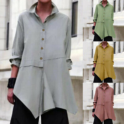 UK Women Long Sleeve Collared Button Down Shirts Casual Loose Cotton Tops Blouse