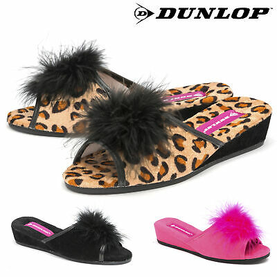 Dunlop Ladies Womens Slippers Sexy Wedge Heel Mules Feather Peep Toe Sizes 3-8