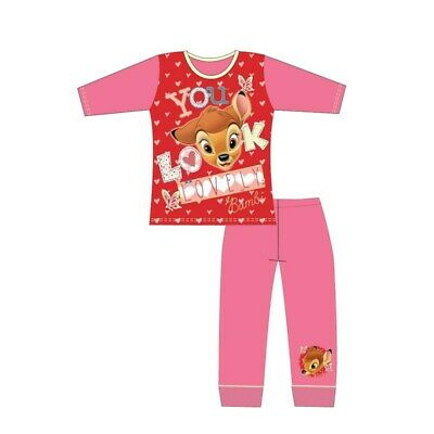 Girls Kids Bambi Pyjamas Nightwear PJ's Long Sleeve 4 to 10 Years Pink