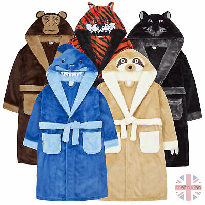 Boys Wild Animal Character Cartoon Robe Face Hooded Dressing Gown 7-13 Years UK