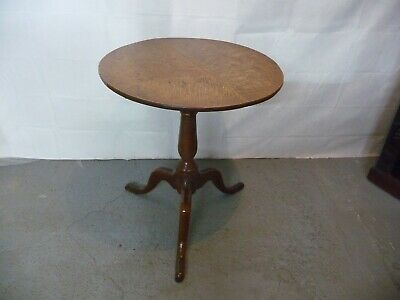 Solid Oak Tilt Top Georgian 18th Century Round Occasional Wine Table Circa 1760