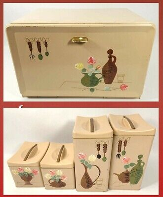 Vintage Retro Ransburg Metal Bread Box  & 4 Piece Matching Canister Set Painted