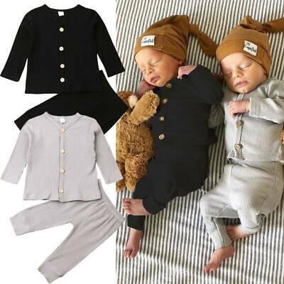 Infant Newborn Baby Outfits Girl Boy Button Long Sleeve Tops Pants Clothes Set