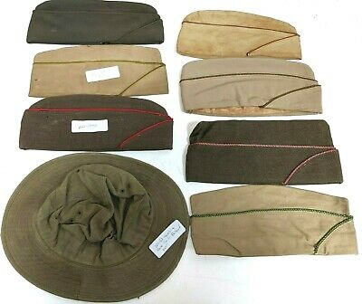8 Wwii Military Police And Artillery Hbt Fatigue Hat & Garrison Cap Lot