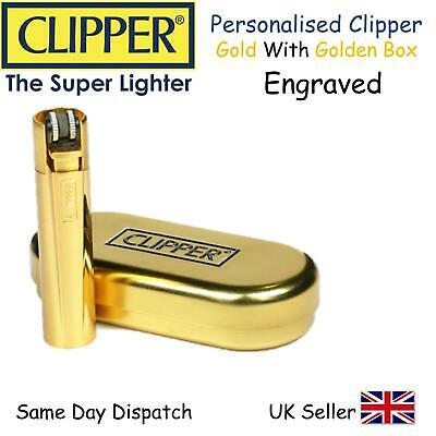 Personalised Engraved Clipper Lighter - Shiny Gold -Gift Best Man Birthday