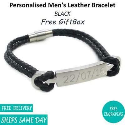 Personalised Engraved Steel Leather Identity Mens Bracelet - Birthday Gift 9""