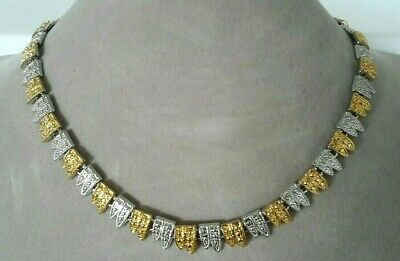 Vintage Alternating Gold And Silver Tone Ornate Linked Choker Necklace N48