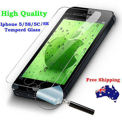 2X Tempered Glass Screen Protector Film for Apple iPhone 5 5S 5C SE 4s 4