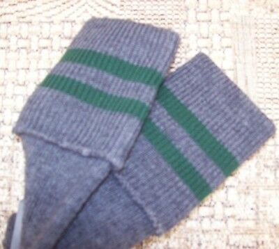 Adult size Grey School  knee high socks with 2 Green Bands Adult shoe size 4-7