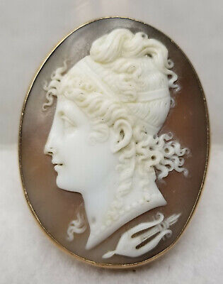 Antique Neoclassical Carved Cameo Brooch Pin Figural Roman Greek 14kt Gold