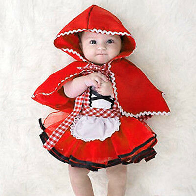 Little Red Riding Hood Halloween Costume for Baby Girl Fancy Party Tutu Dress UK