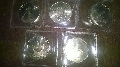 2018 Isle of Man Sapphire Coronation Set of 50p coins - Uncirculated/FREE POST!!