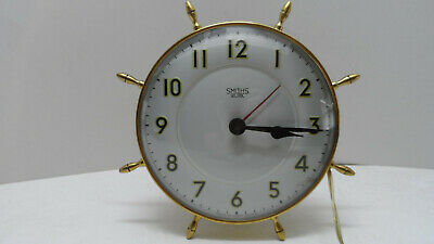 Smiths Sectric Electric Vintage Wall Clock Maritime Ships Wheel Brass