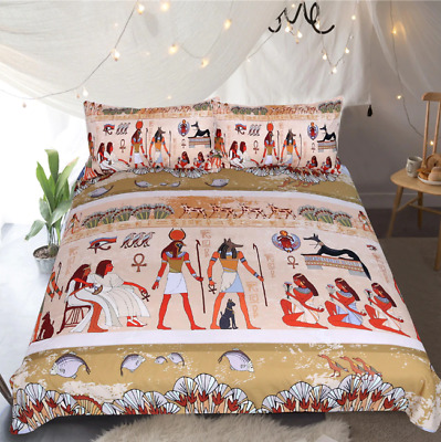 Egyptian Bedding Set Ancient Egypt Civilization Duvet Cover Characters Home