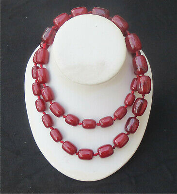 ANTIQUE FLAPPER ART DECO LONG CHERRY AMBER BAKELITE KNOTTED NECKLACE 99 grms