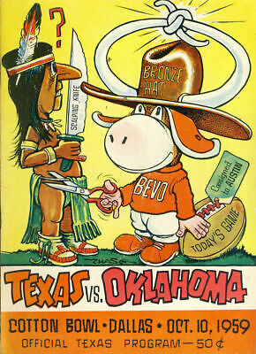 1959 Texas Longhorns vs. Oklahoma Sooners Football Poster - Cotton Bowl