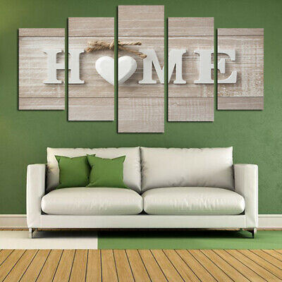 5Pcs Set Love Heart Canvas Print Painting Pictures Art Wall Home Decor Unframed