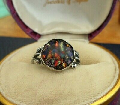 Vintage Jewellery Art Deco Sterling Silver Foiled Glass Ring Signed Tlm