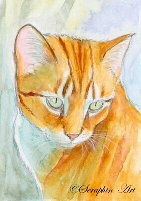 Original ACEO Watercolor Painting Cute Tabby Cat Kitten Miniature Seraphin-Art