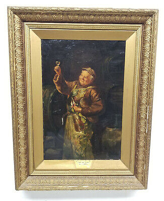 Antique 19th Century Monk Painting Tasting the Wine Oil On Canvas Gold Frame