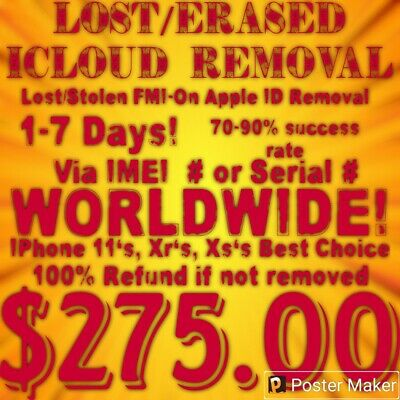 Lost Worldwide Modes Icloud Fmi-On Removal 1-72Hrs $275.00 By Screenshot & Imei