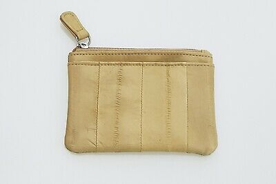 Dent Sale /Genuine Eel Skin Leather- Small Rectangle Coin & Card Purse / Beige 2