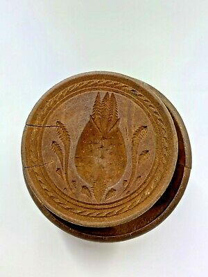 Antique Wooden Large Pineapple Butter Print Stamp Mold Press Folk Art Primitive
