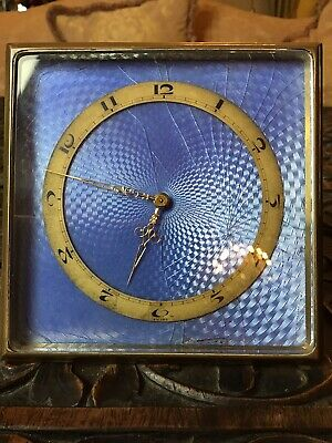 Antique Cornflower Blue Guilloche Enamel Easel Frame Brass Bedside Travel Clock
