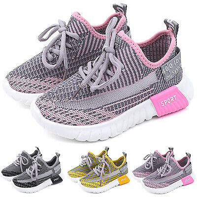 Children Boys Girls Lace Up Mesh Sneakers Sports Athletic Outdoor Trainers Shoes