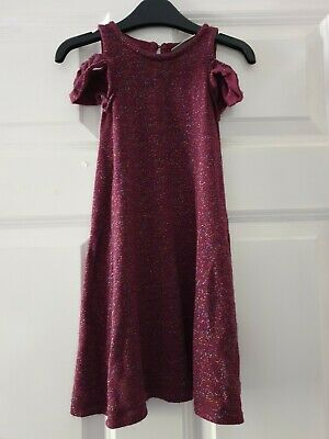 Next Girl Dress Purple Sparkle Glitter Cold Shoulder Age 3 Years
