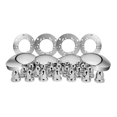 chrome trailer hub cover kit caps universal axle wheel plastic lug nuts 33mm