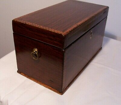 Antique Victorian Tunbridge Ware Tea Caddy with Brass Handles