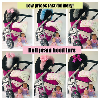 Dolls Pram fur doll pram fur hood trim Silver cross Pop Universal icandy cosatto
