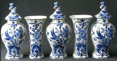 Porceleyne Fles Delft Antique 5 Pieces Blue And White Cabinet-Set 1915