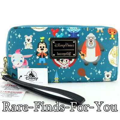 Disney Parks Attractions Minis Characters Icon Loungefly Zip Wristlet Wallet NEW