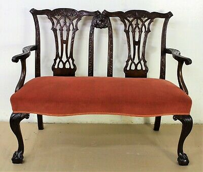 Antique Chippendale Design Mahogany Settee Bench