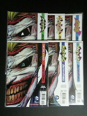 "Lot of 6 ""Death of the Family"" Die-cut Joker mask covers, Batman, Batgirl, VF-NM"