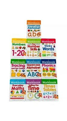Wipe-Clean Workbook Collection with Pen 10 Books, Maths, Alphabet, Phonics