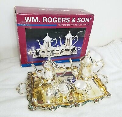 Vintage- WM. ROGERS & SON- Silverplated Five Piece Coffee Set