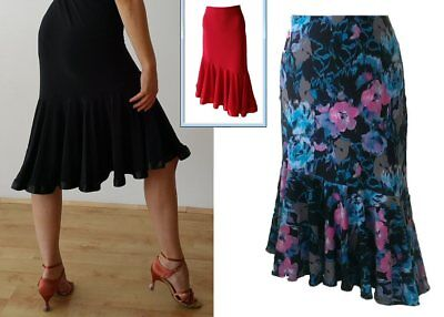 Stretchy Ballroom / Latin Dance Skirt With Diagonal Frill.  Black / Floral / Red