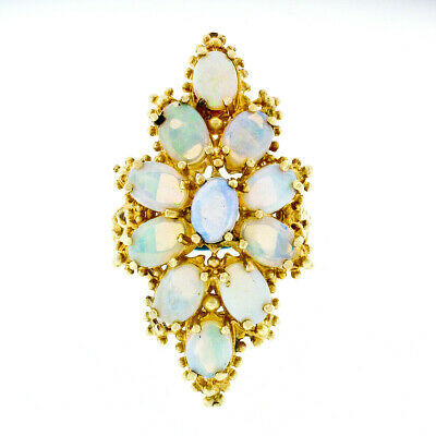 Vintage 14k Yellow Gold Oval Cabochon Opal Large Open Beaded Work Cocktail Ring
