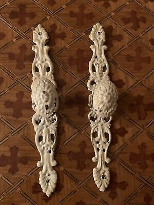 Antique Ornate Shabby French Provincial Chic Door Drawer Pulls White Cast Brass