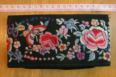 Pretty Vintage antique 1940s/50s black floral embroidered red pink purse wallet
