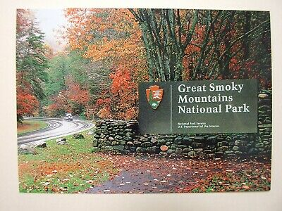Great Smoky Mountains NATIONAL PARK Postcard PASSPORT STAMPS Autumn Fall Trees