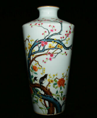 "14"" Marked Old Chinese Wucai Painted Porcelain Peacock Flower Pot Bottle Vase"