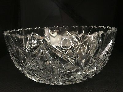 Antique Cut Glass Bowl Stars Nice Clear Heavy
